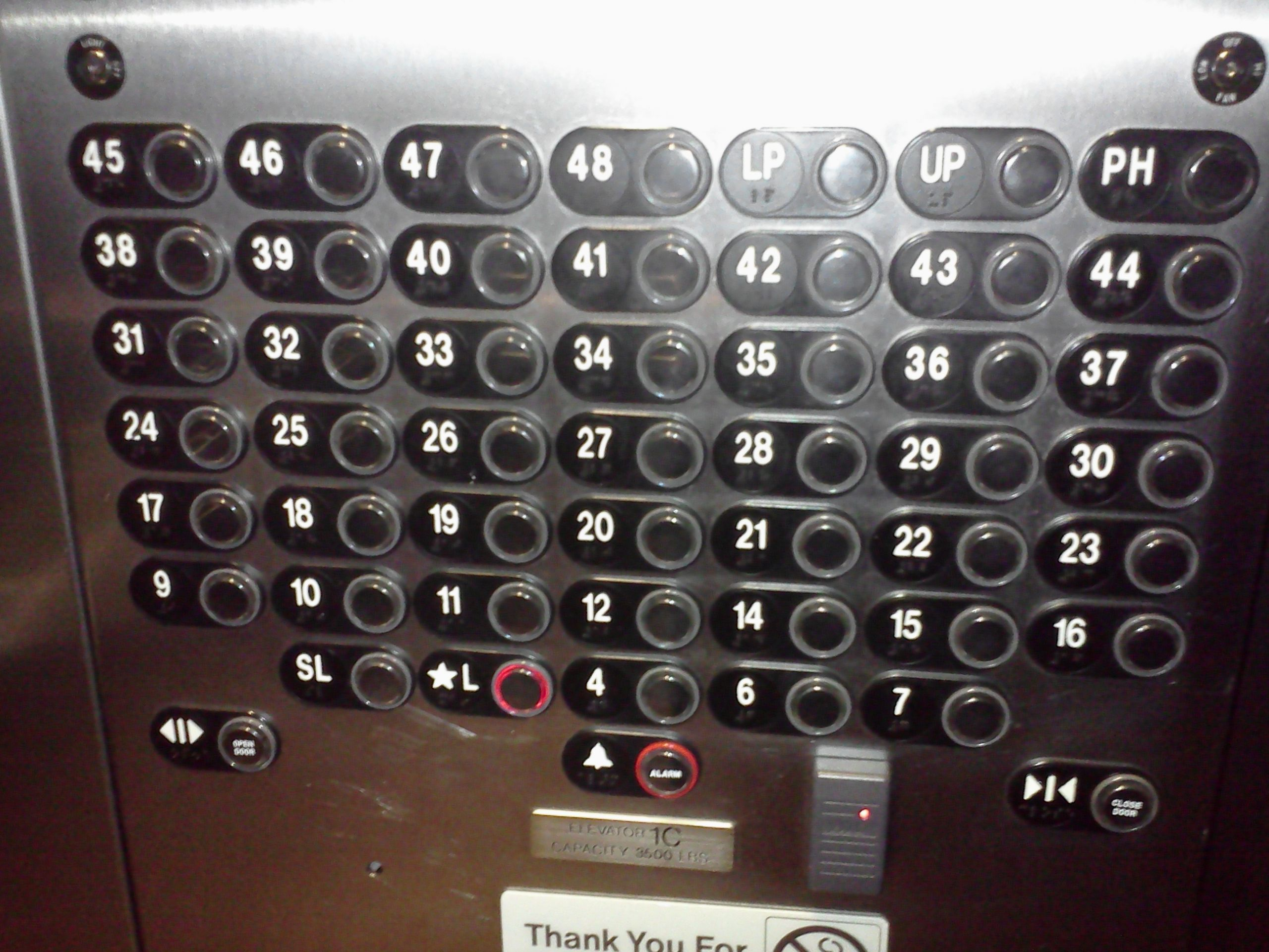 An Elevator Control Panel For 30 Floor Buildings